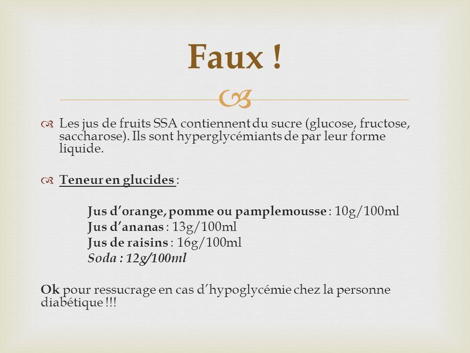 Les jus de fruits SSA contiennent du sucre (glucose, fructose, saccharose). Ils sont hyperglycémiants de par leur forme liquide. Teneur en glucides :