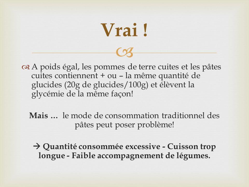 A poids égal, les pommes de terre cuites et les pâtes cuites contiennent + ou – la même quantité de glucides (20g de glucides/100g) et élèvent la glyc