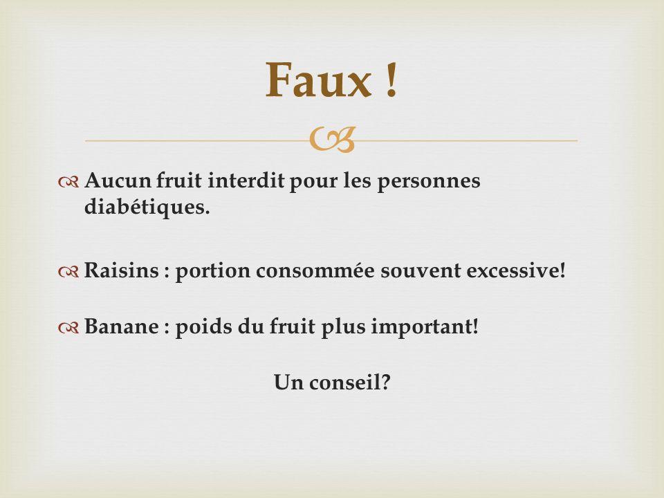 Aucun fruit interdit pour les personnes diabétiques. Raisins : portion consommée souvent excessive! Banane : poids du fruit plus important! Un conseil