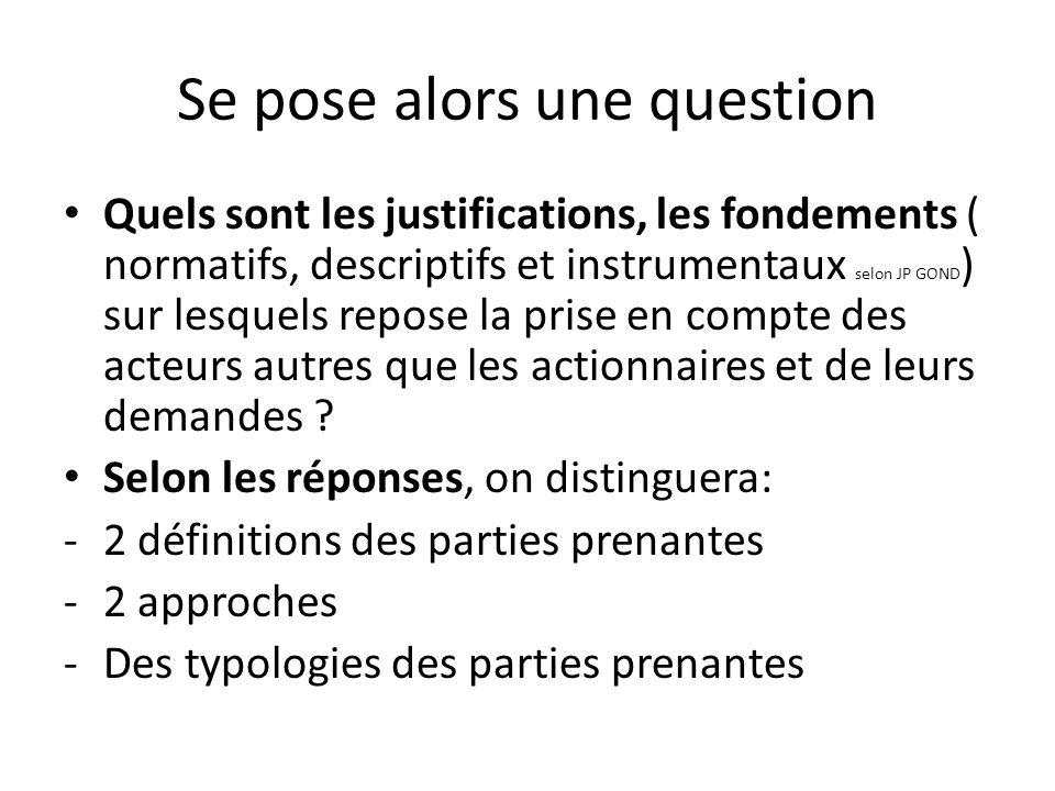 Se pose alors une question Quels sont les justifications, les fondements ( normatifs, descriptifs et instrumentaux selon JP GOND ) sur lesquels repose la prise en compte des acteurs autres que les actionnaires et de leurs demandes .