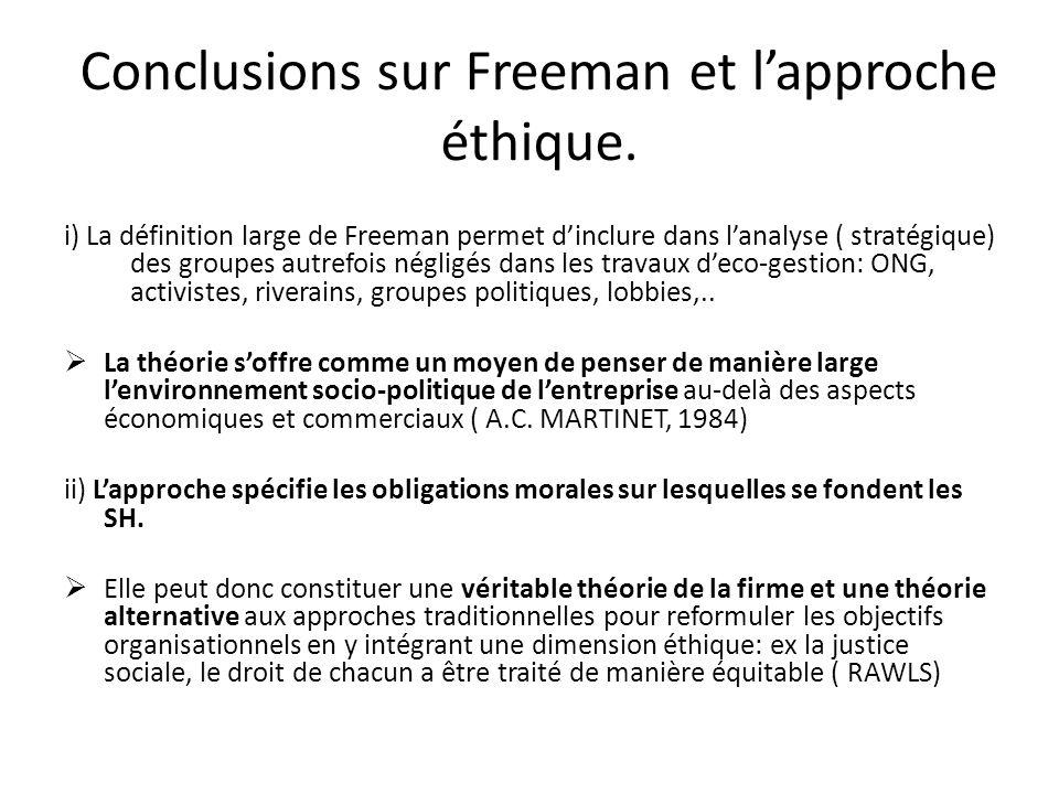 Conclusions sur Freeman et lapproche éthique.