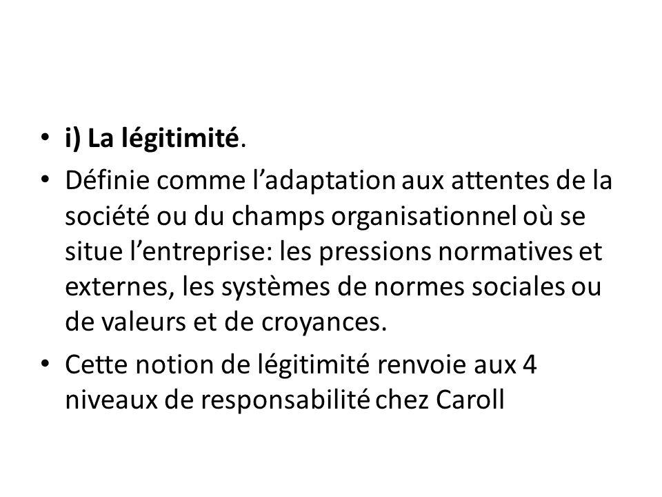 i) La légitimité.