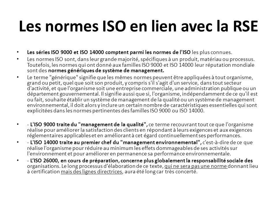 Les normes ISO en lien avec la RSE Les séries ISO 9000 et ISO 14000 comptent parmi les normes de l ISO les plus connues.