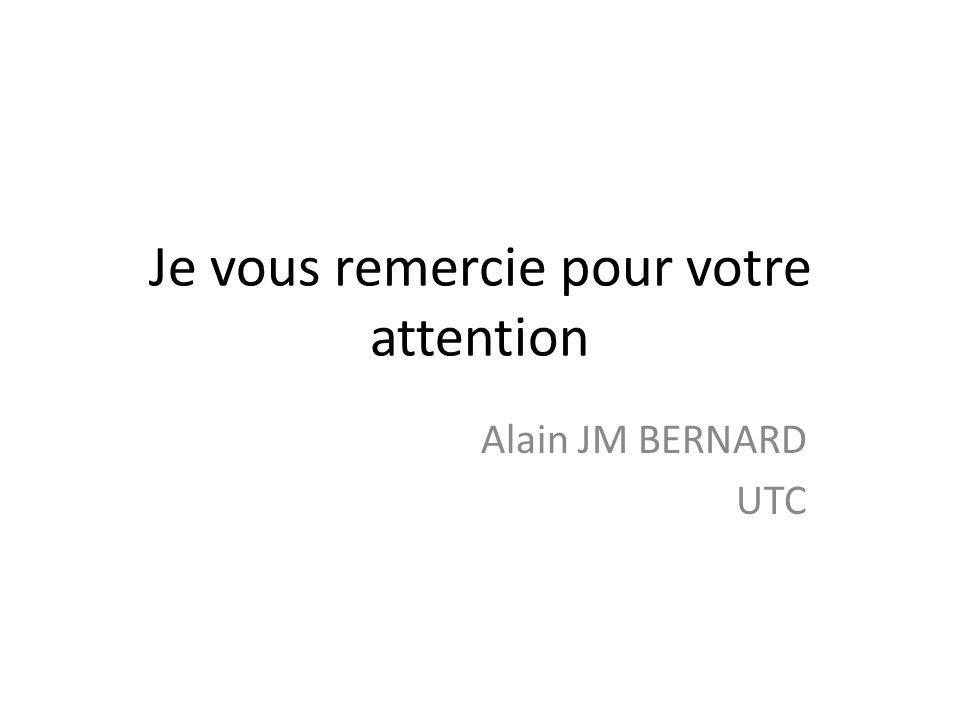 Je vous remercie pour votre attention Alain JM BERNARD UTC