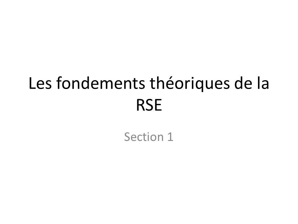 Les fondements théoriques de la RSE Section 1