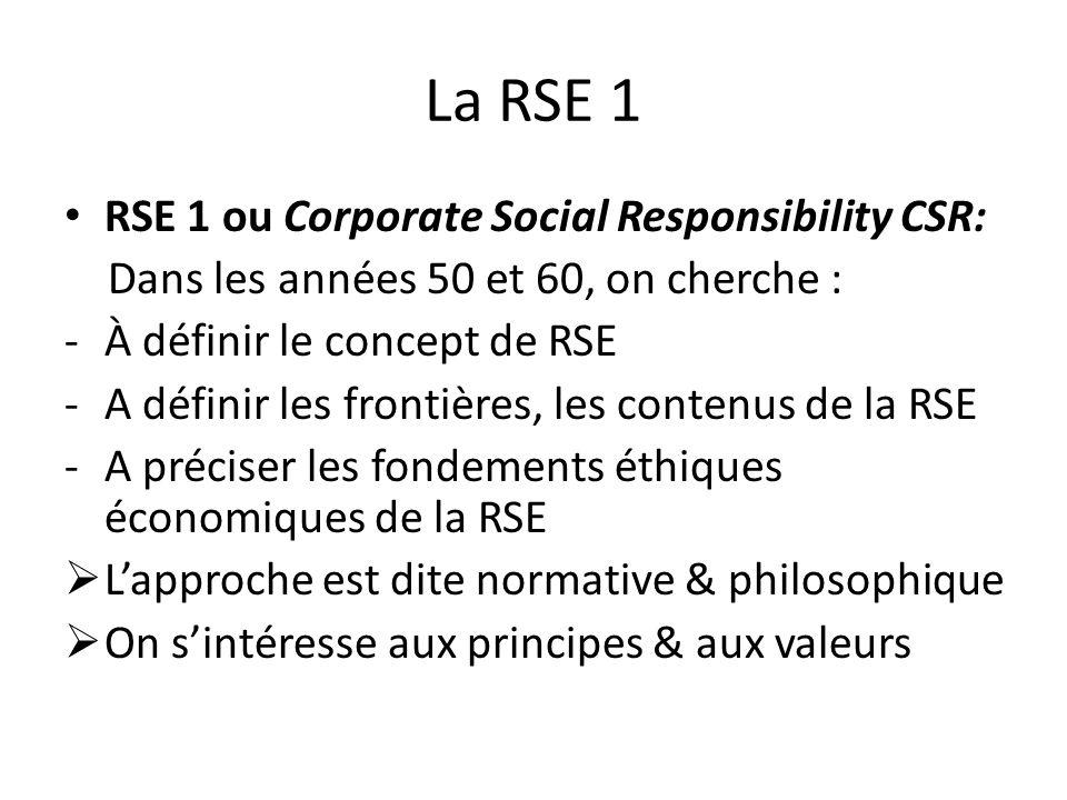 La RSE 1 RSE 1 ou Corporate Social Responsibility CSR: Dans les années 50 et 60, on cherche : -À définir le concept de RSE -A définir les frontières, les contenus de la RSE -A préciser les fondements éthiques économiques de la RSE Lapproche est dite normative & philosophique On sintéresse aux principes & aux valeurs