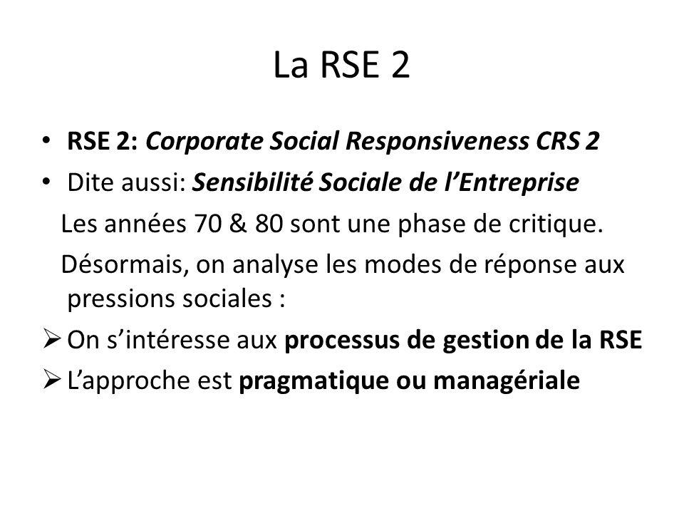 La RSE 2 RSE 2: Corporate Social Responsiveness CRS 2 Dite aussi: Sensibilité Sociale de lEntreprise Les années 70 & 80 sont une phase de critique.
