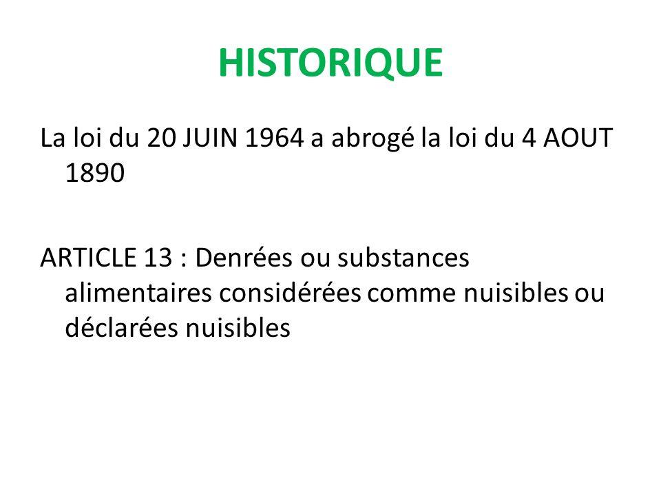 La loi du 20 JUIN 1964 a abrogé la loi du 4 AOUT 1890 ARTICLE 13 : Denrées ou substances alimentaires considérées comme nuisibles ou déclarées nuisibles HISTORIQUE