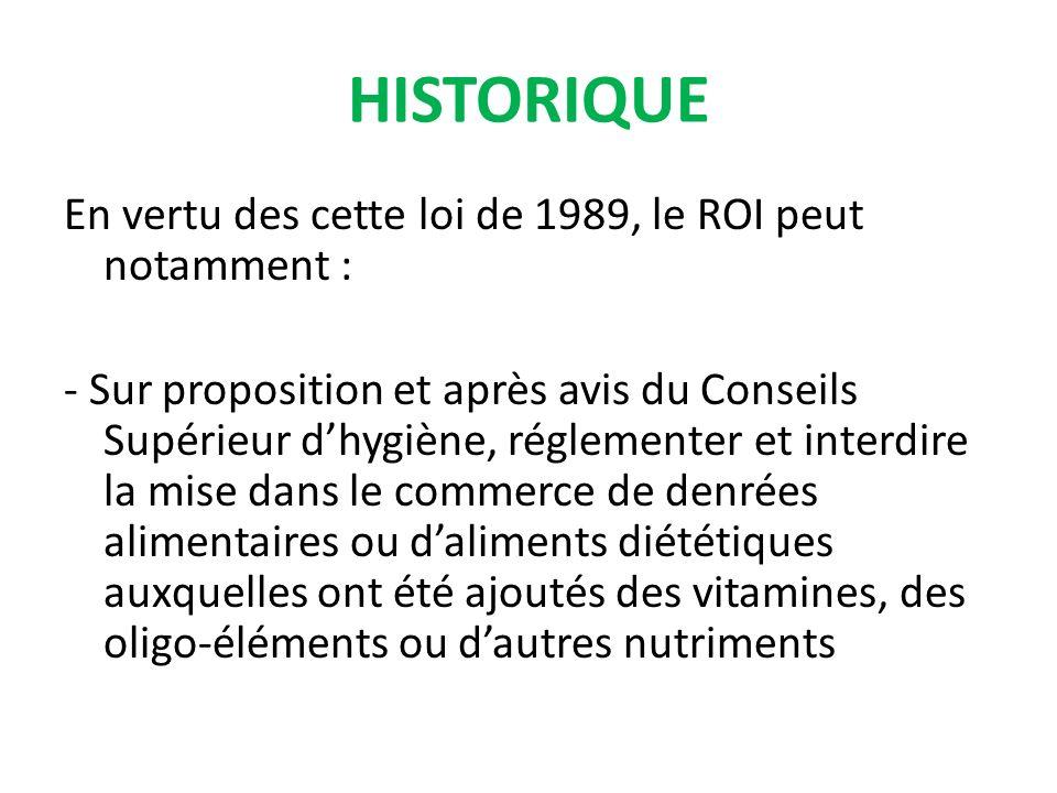 En vertu des cette loi de 1989, le ROI peut notamment : - Sur proposition et après avis du Conseils Supérieur dhygiène, réglementer et interdire la mise dans le commerce de denrées alimentaires ou daliments diététiques auxquelles ont été ajoutés des vitamines, des oligo-éléments ou dautres nutriments HISTORIQUE