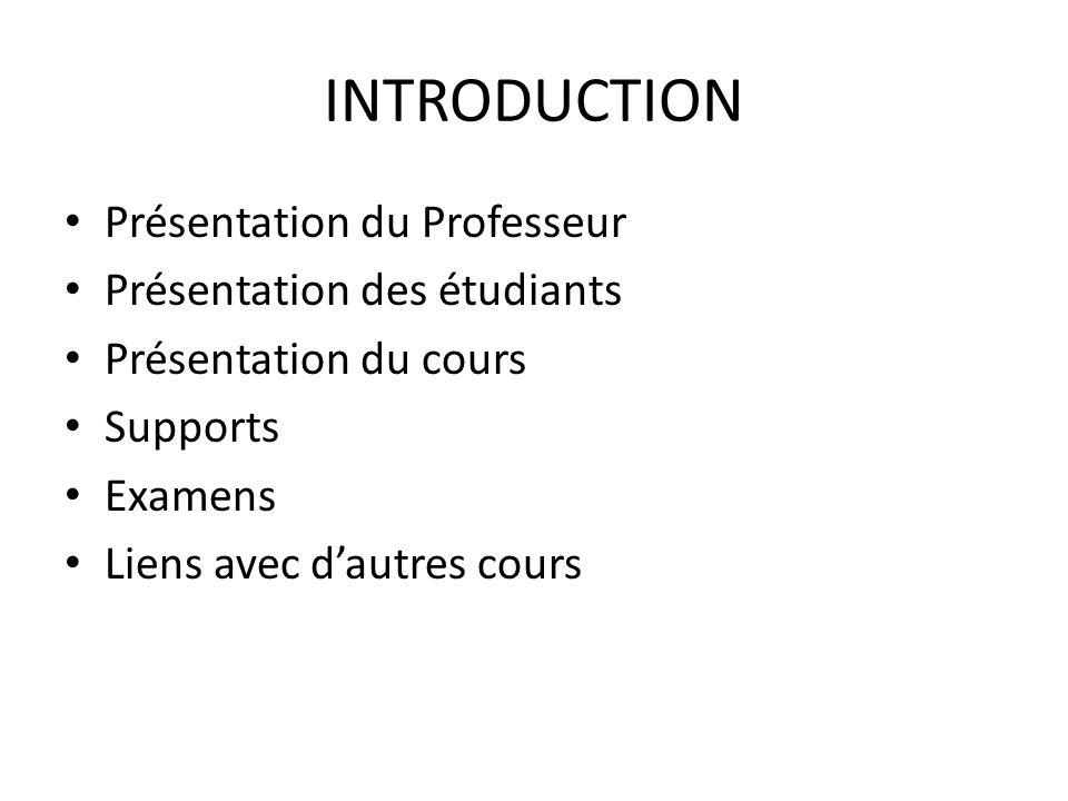 INTRODUCTION Présentation du Professeur Présentation des étudiants Présentation du cours Supports Examens Liens avec dautres cours