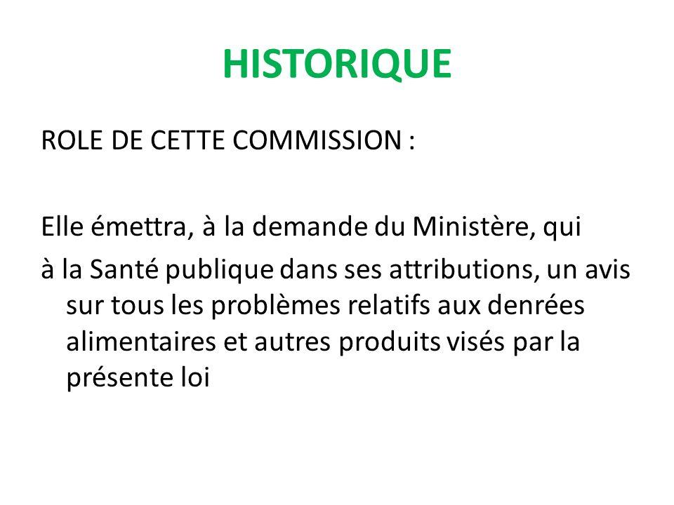 ROLE DE CETTE COMMISSION : Elle émettra, à la demande du Ministère, qui à la Santé publique dans ses attributions, un avis sur tous les problèmes rela