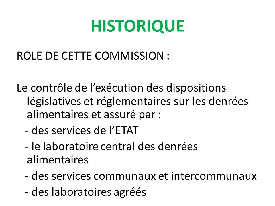 ROLE DE CETTE COMMISSION : Le contrôle de lexécution des dispositions législatives et réglementaires sur les denrées alimentaires et assuré par : - des services de lETAT - le laboratoire central des denrées alimentaires - des services communaux et intercommunaux - des laboratoires agréés HISTORIQUE