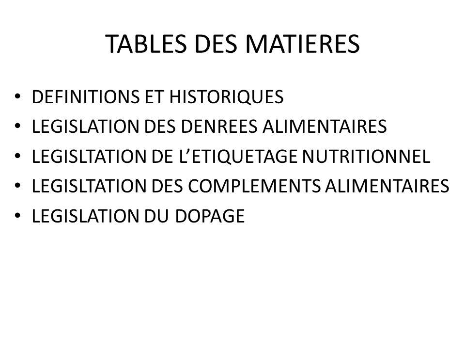 TABLES DES MATIERES DEFINITIONS ET HISTORIQUES LEGISLATION DES DENREES ALIMENTAIRES LEGISLTATION DE LETIQUETAGE NUTRITIONNEL LEGISLTATION DES COMPLEMENTS ALIMENTAIRES LEGISLATION DU DOPAGE