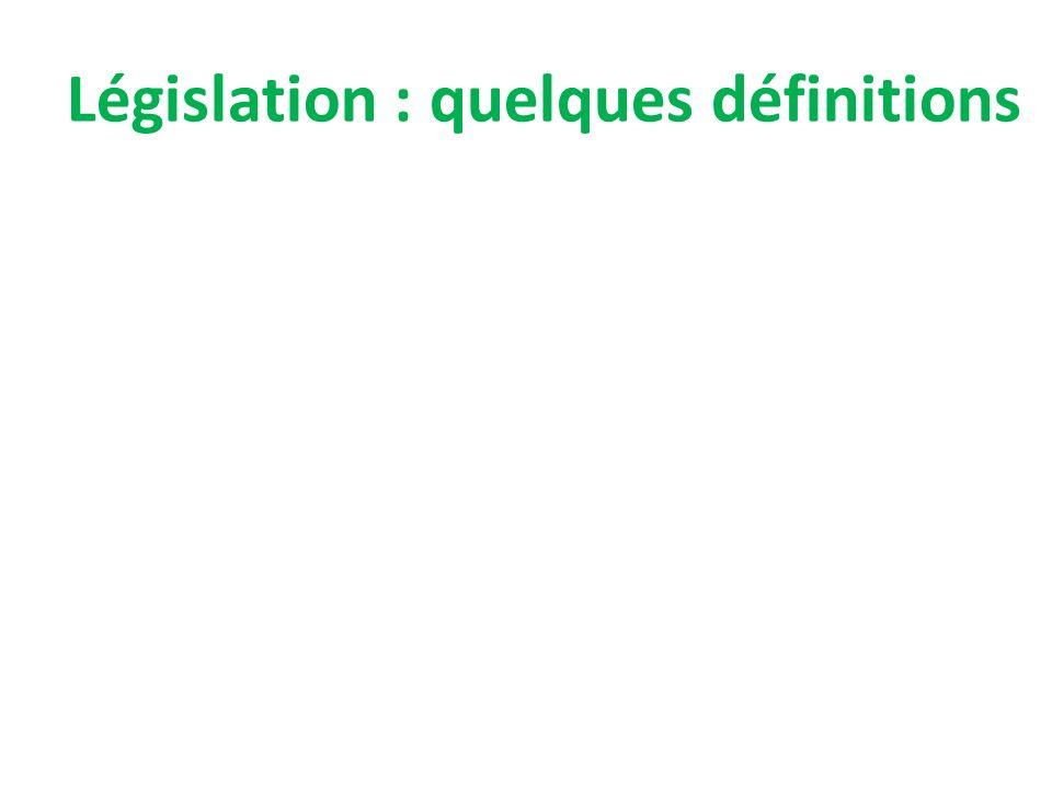 Législation : quelques définitions