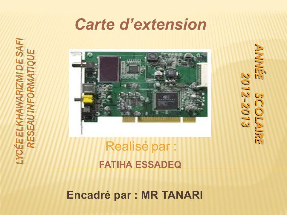 ANNÉE SCOLAIRE 2012-2013 2012-2013 Carte dextension Realisé par : FATIHA ESSADEQ Encadré par : MR TANARI