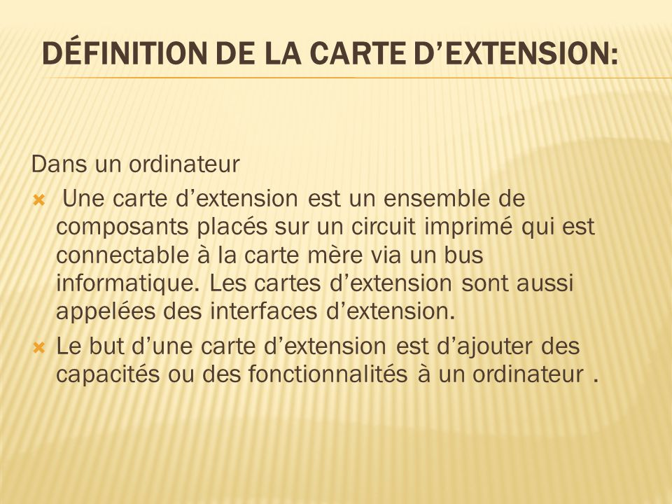 CARTES DEXTENSION AUX FONCTIONS SPÉCIALES: