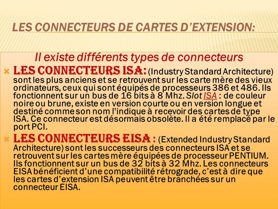 Les connecteurs VESA-local-Bus : sont très peu répandus parce quils ont été surplantés par les connecteurs PCI.
