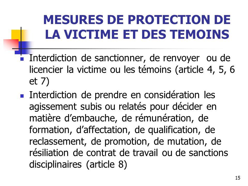 MESURES DE PROTECTION DE LA VICTIME ET DES TEMOINS Interdiction de sanctionner, de renvoyer ou de licencier la victime ou les témoins (article 4, 5, 6