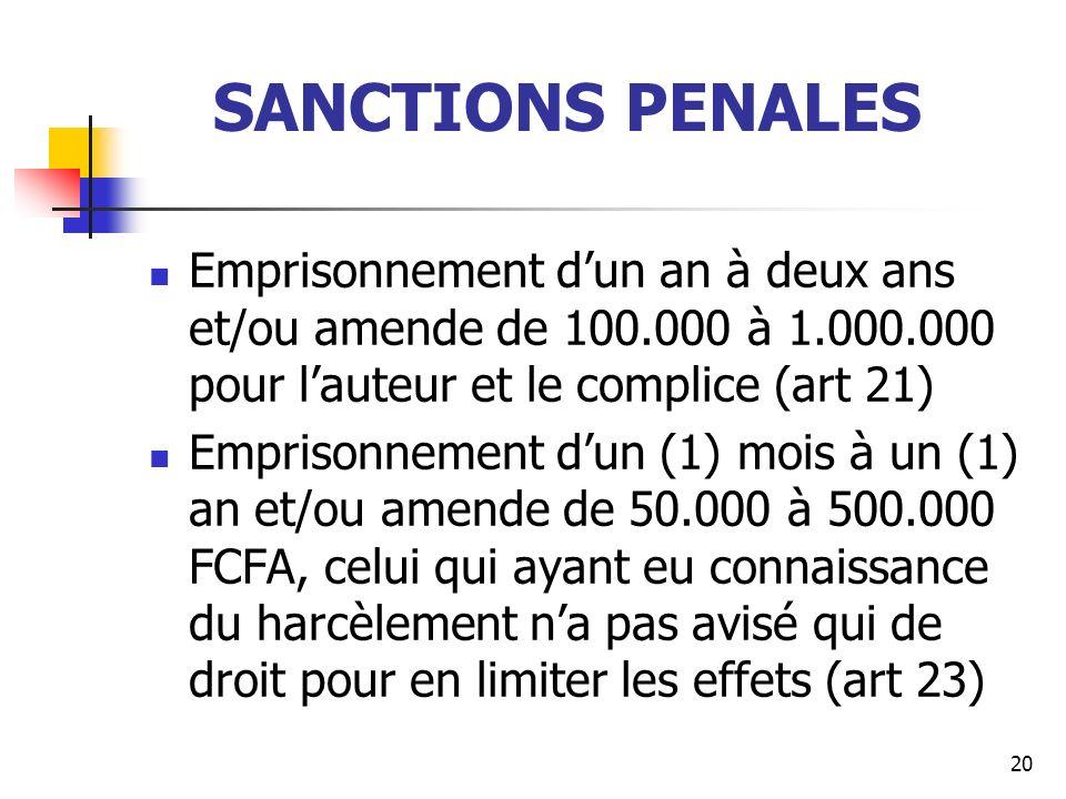 SANCTIONS PENALES Emprisonnement dun an à deux ans et/ou amende de 100.000 à 1.000.000 pour lauteur et le complice (art 21) Emprisonnement dun (1) moi