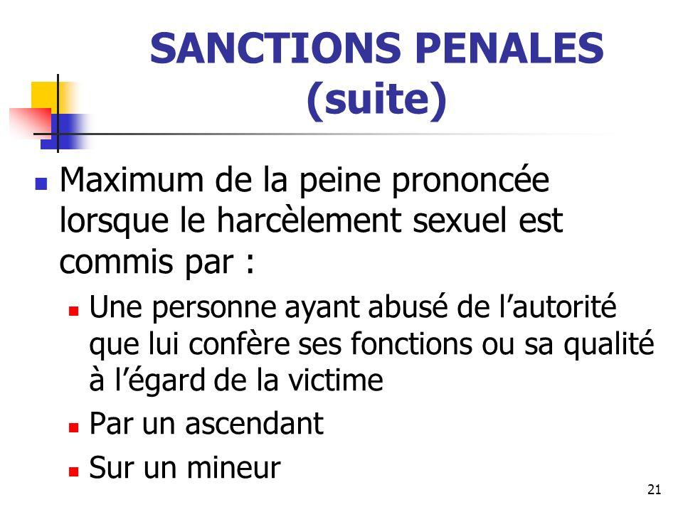 SANCTIONS PENALES (suite) Maximum de la peine prononcée lorsque le harcèlement sexuel est commis par : Une personne ayant abusé de lautorité que lui c