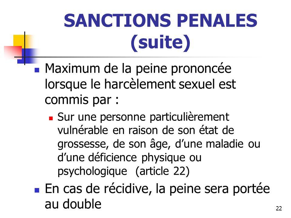 SANCTIONS PENALES (suite) Maximum de la peine prononcée lorsque le harcèlement sexuel est commis par : Sur une personne particulièrement vulnérable en