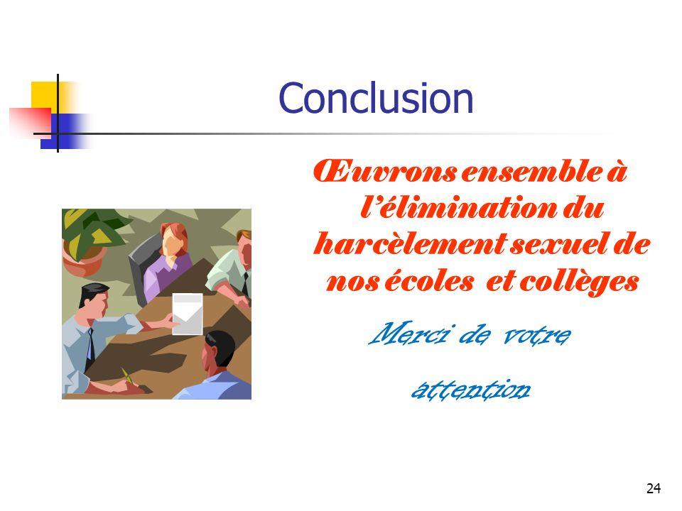 24 Conclusion Œuvrons ensemble à lélimination du harcèlement sexuel de nos écoles et collèges Merci de votre attention