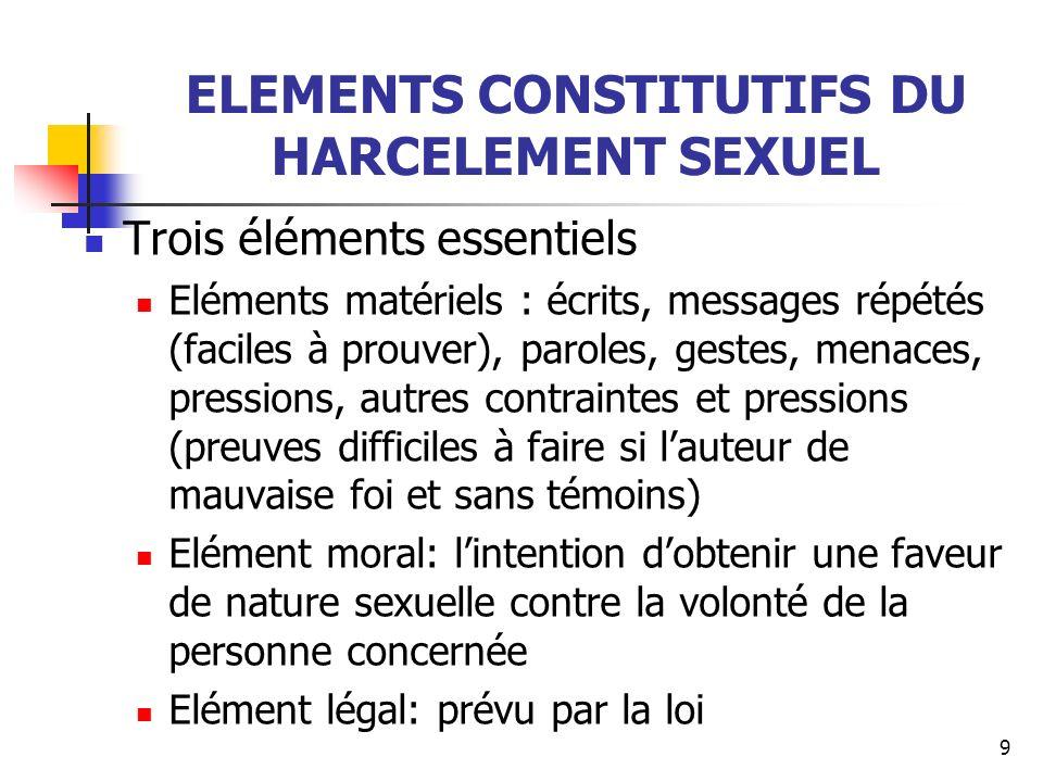 9 ELEMENTS CONSTITUTIFS DU HARCELEMENT SEXUEL Trois éléments essentiels Eléments matériels : écrits, messages répétés (faciles à prouver), paroles, ge