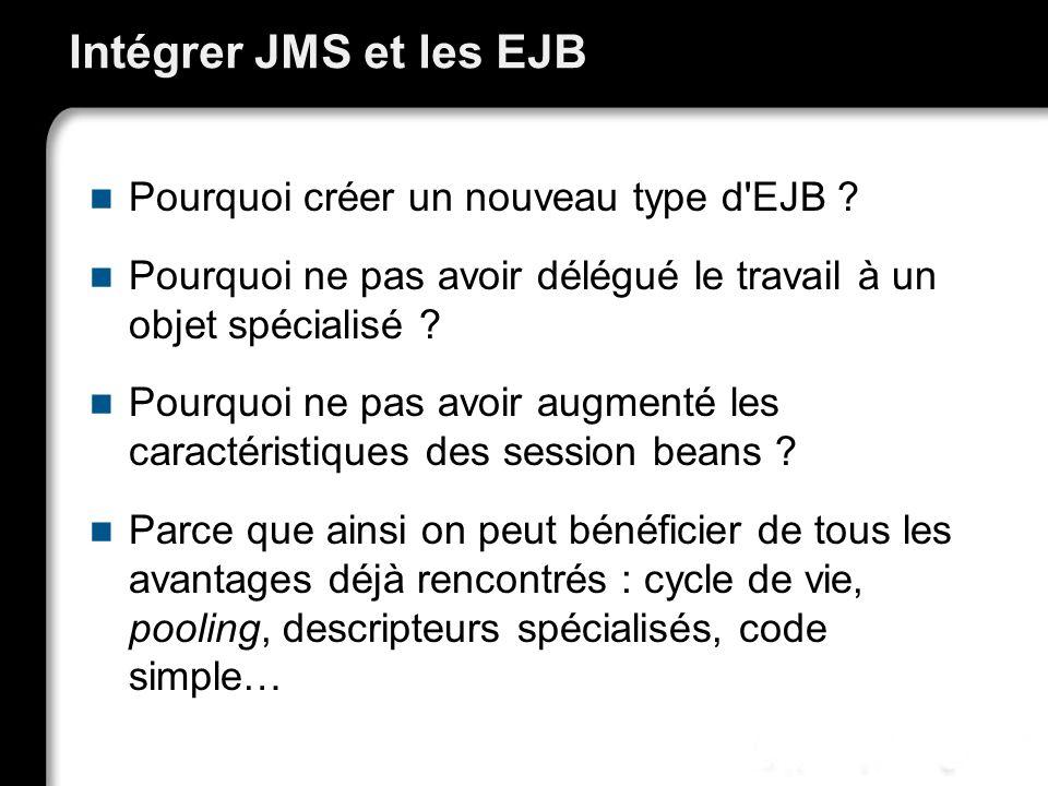 Intégrer JMS et les EJB Pourquoi créer un nouveau type d'EJB ? Pourquoi ne pas avoir délégué le travail à un objet spécialisé ? Pourquoi ne pas avoir
