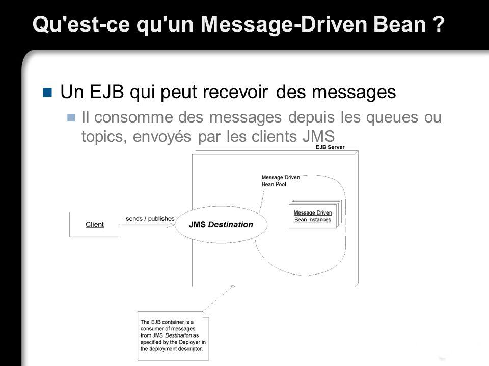 Qu'est-ce qu'un Message-Driven Bean ? Un EJB qui peut recevoir des messages Il consomme des messages depuis les queues ou topics, envoyés par les clie