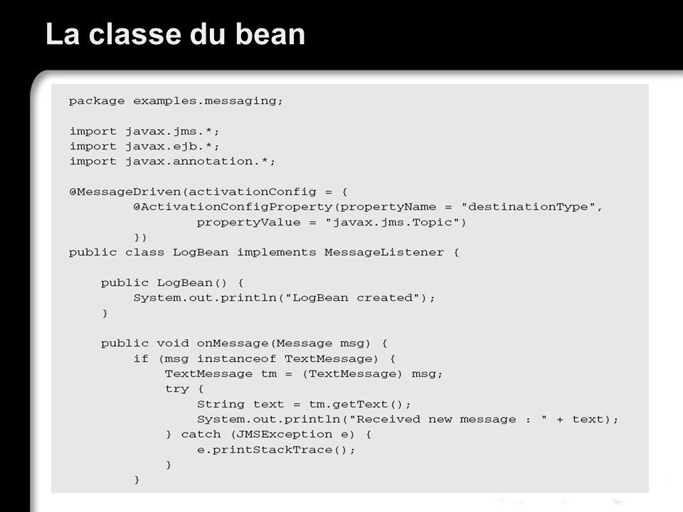 La classe du bean
