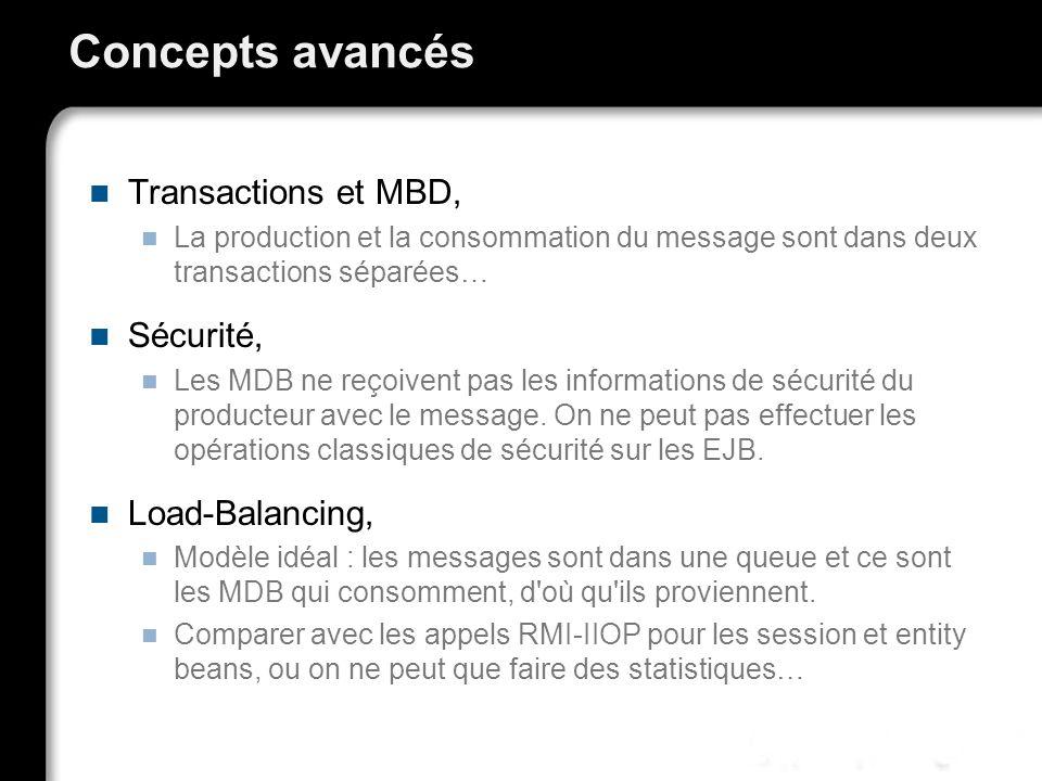 Concepts avancés Transactions et MBD, La production et la consommation du message sont dans deux transactions séparées… Sécurité, Les MDB ne reçoivent pas les informations de sécurité du producteur avec le message.