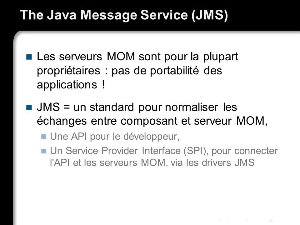 The Java Message Service (JMS) Les serveurs MOM sont pour la plupart propriétaires : pas de portabilité des applications ! JMS = un standard pour norm