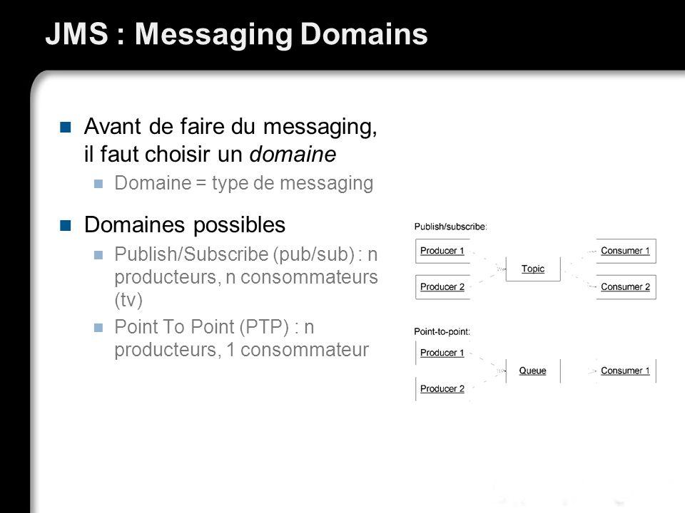 JMS : Messaging Domains Avant de faire du messaging, il faut choisir un domaine Domaine = type de messaging Domaines possibles Publish/Subscribe (pub/sub) : n producteurs, n consommateurs (tv) Point To Point (PTP) : n producteurs, 1 consommateur