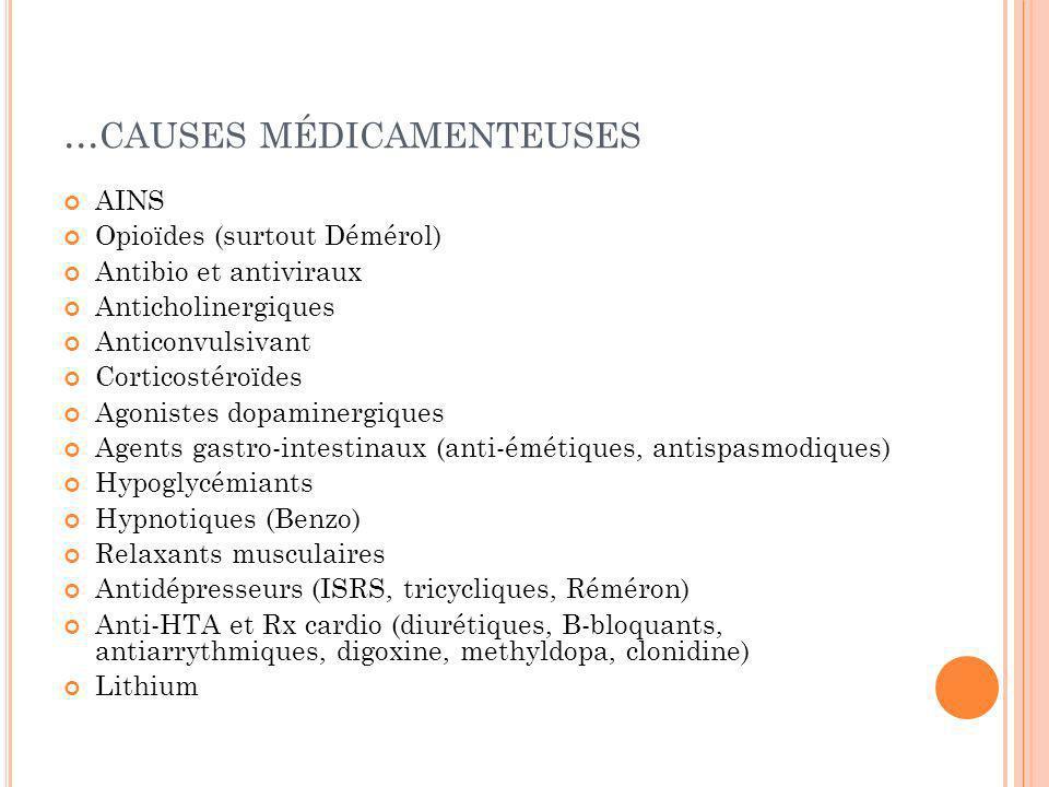 ... CAUSES MÉDICAMENTEUSES AINS Opioïdes (surtout Démérol) Antibio et antiviraux Anticholinergiques Anticonvulsivant Corticostéroïdes Agonistes dopami