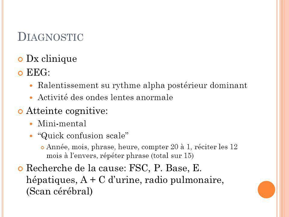 D IAGNOSTIC Dx clinique EEG: Ralentissement su rythme alpha postérieur dominant Activité des ondes lentes anormale Atteinte cognitive: Mini-mental Qui