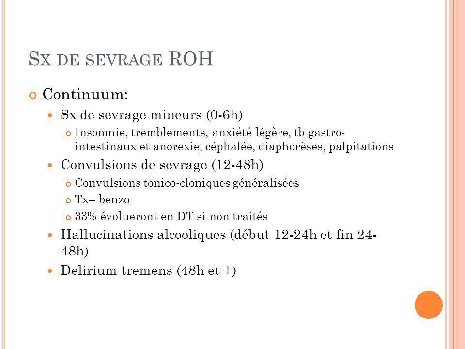 S X DE SEVRAGE ROH Continuum: Sx de sevrage mineurs (0-6h) Insomnie, tremblements, anxiété légère, tb gastro- intestinaux et anorexie, céphalée, diaph