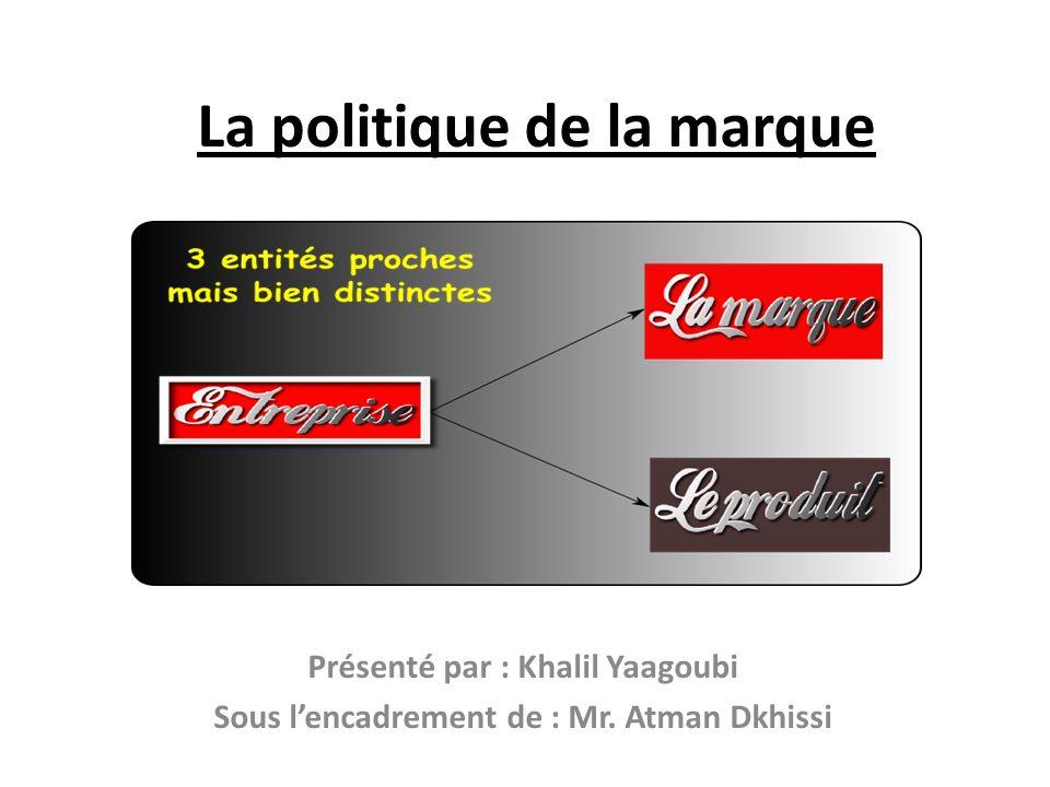 La politique de la marque Présenté par : Khalil Yaagoubi Sous lencadrement de : Mr. Atman Dkhissi
