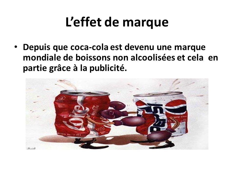 Leffet de marque Depuis que coca-cola est devenu une marque mondiale de boissons non alcoolisées et cela en partie grâce à la publicité.