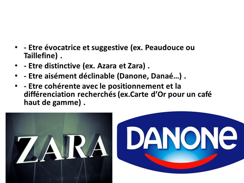 - Etre évocatrice et suggestive (ex. Peaudouce ou Taillefine). - Etre distinctive (ex. Azara et Zara). - Etre aisément déclinable (Danone, Danaé…). -