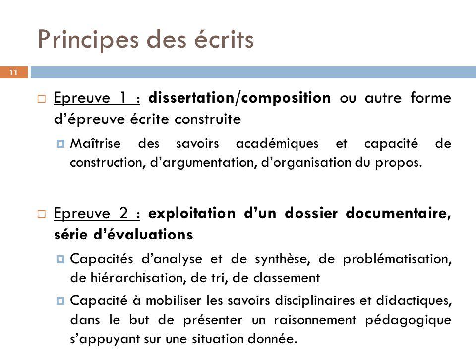 Principes des écrits 11 Epreuve 1 : dissertation/composition ou autre forme dépreuve écrite construite Maîtrise des savoirs académiques et capacité de construction, dargumentation, dorganisation du propos.