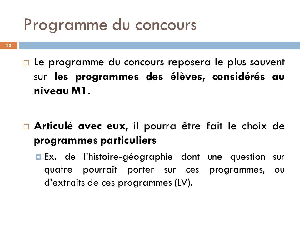 Programme du concours 13 Le programme du concours reposera le plus souvent sur les programmes des élèves, considérés au niveau M1.