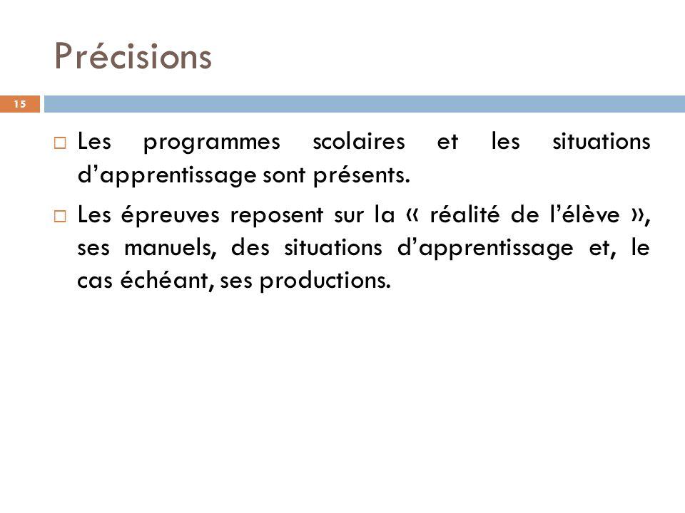 Précisions 15 Les programmes scolaires et les situations dapprentissage sont présents.