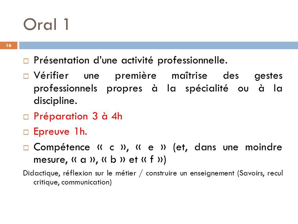 Oral 1 16 Présentation dune activité professionnelle.
