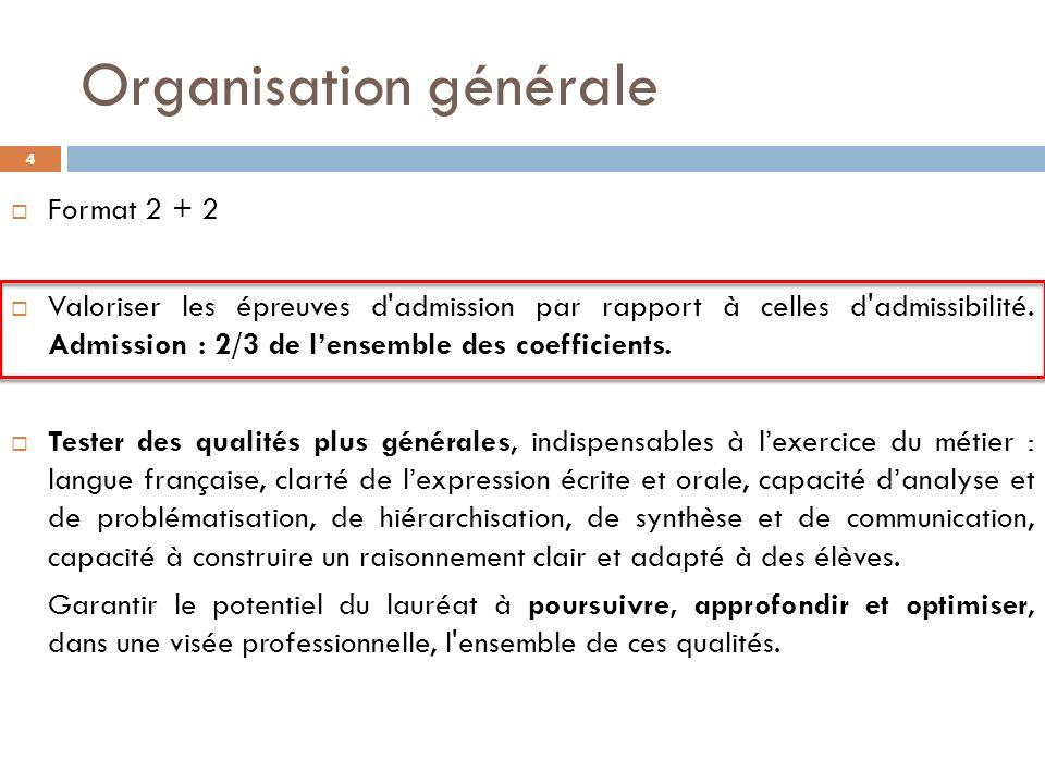 Organisation générale 4 Format 2 + 2 Valoriser les épreuves d admission par rapport à celles d admissibilité.