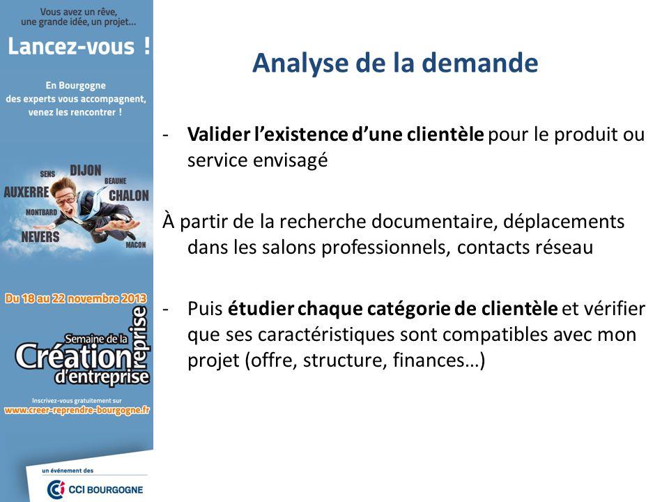 Analyse de la demande -Valider lexistence dune clientèle pour le produit ou service envisagé À partir de la recherche documentaire, déplacements dans