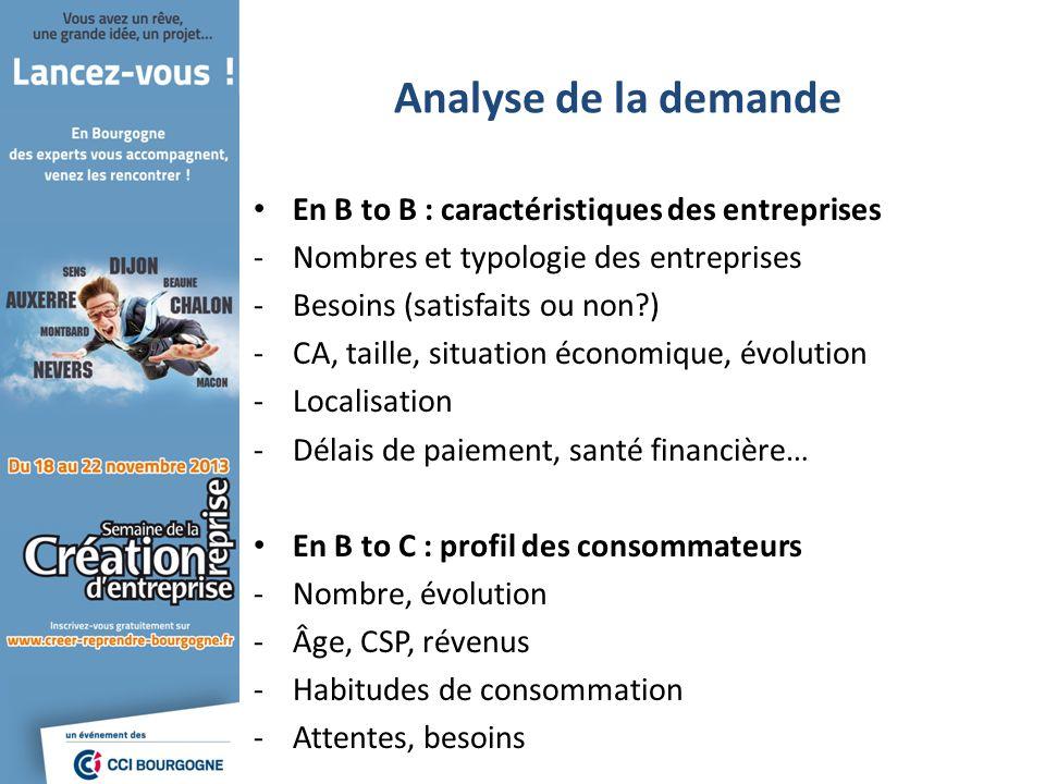 Analyse de la demande En B to B : caractéristiques des entreprises -Nombres et typologie des entreprises -Besoins (satisfaits ou non?) -CA, taille, si