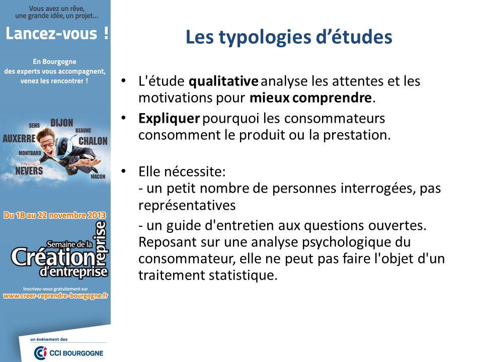 Les typologies détudes L'étude qualitative analyse les attentes et les motivations pour mieux comprendre. Expliquer pourquoi les consommateurs consomm