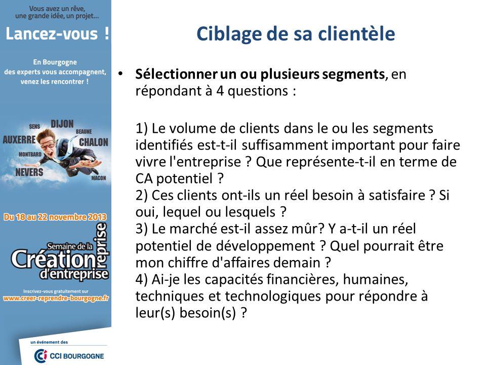 Ciblage de sa clientèle Sélectionner un ou plusieurs segments, en répondant à 4 questions : 1) Le volume de clients dans le ou les segments identifiés