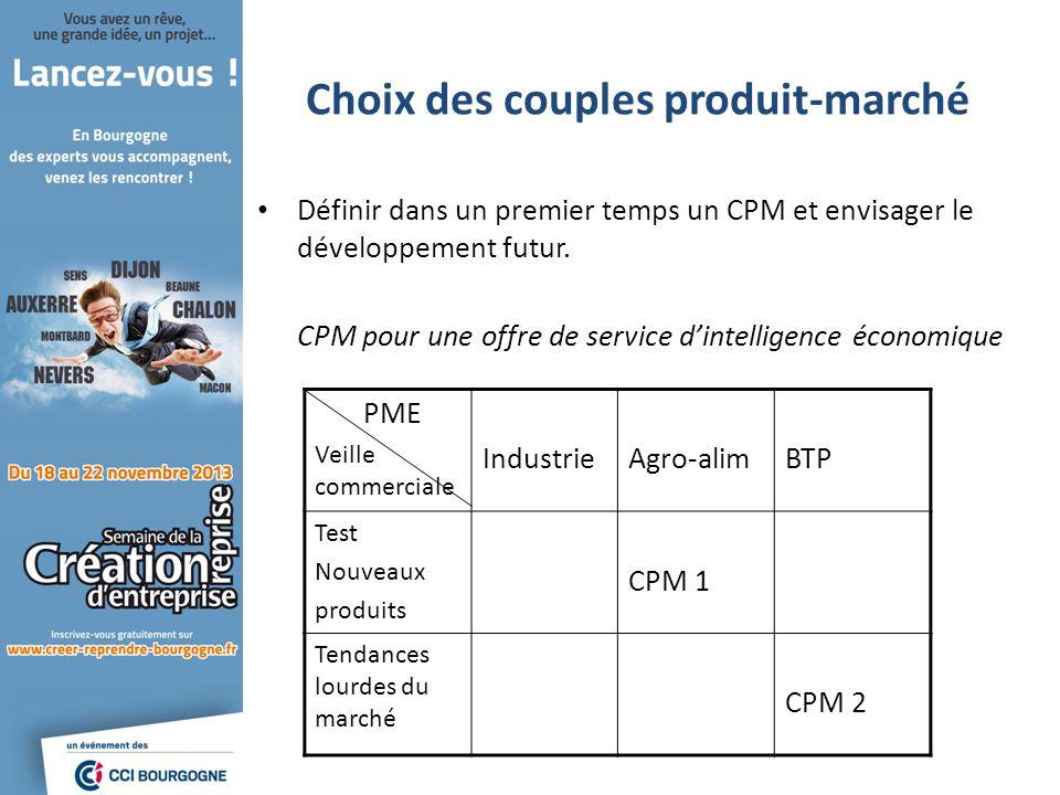 Choix des couples produit-marché Définir dans un premier temps un CPM et envisager le développement futur. CPM pour une offre de service dintelligence