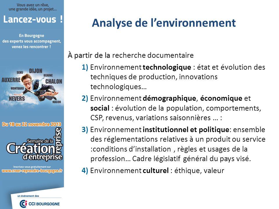Analyse de lenvironnement À partir de la À partir de la recherche documentaire 1) Environnement technologique : état et évolution des techniques de pr